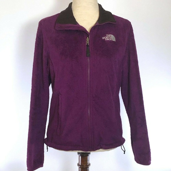 The North Face Full Zip Jacket Womens Sz MED Purple Fleece Drawstring Waist